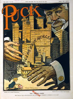 1907 Cartoon of J. P. Morgan seizing control of banks.png