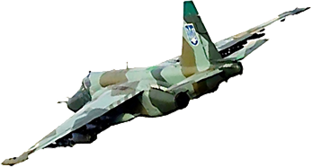 Graphic of a Sukhoi Su-25 single-seat, twin-engined,  close air support aircraft,  a type in service with the Ukrainian Air Force. See also File:Su-25.pdf
