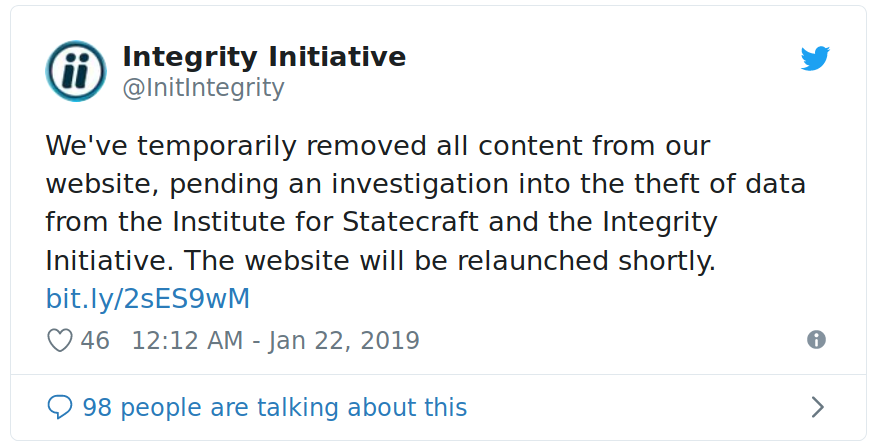 Integrity Initiative cover up tweet of 22 January 2019.png