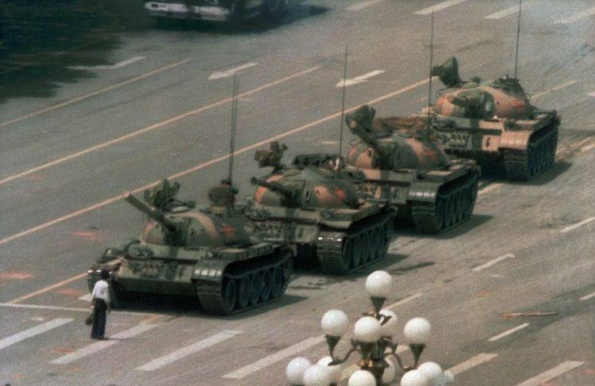 Tank Man's iconic resistance to the violence of the the Chinese communist government, on July 4th, 1989, the day after tanks had crushed non-violent demonstrators nearby.