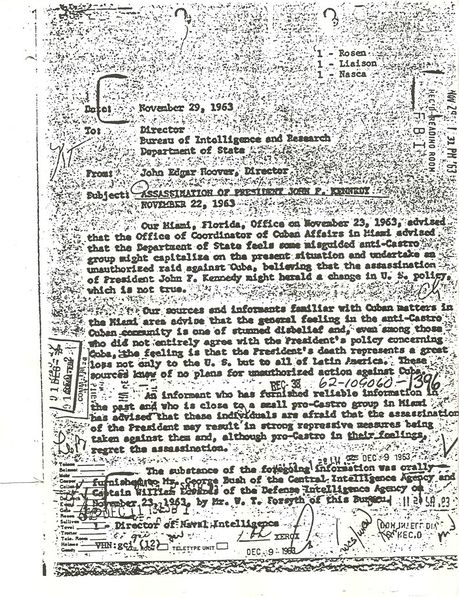 The first document in a sequence which exposed the secret life of George H. W. Bush