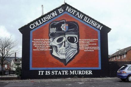 A mural about collusion between the UK government and terrorist forces