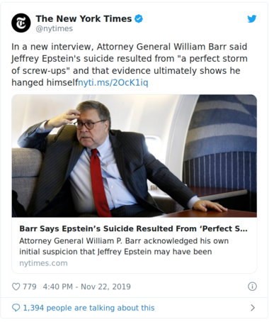 NY tweet of William Barr on Epsteins death.png